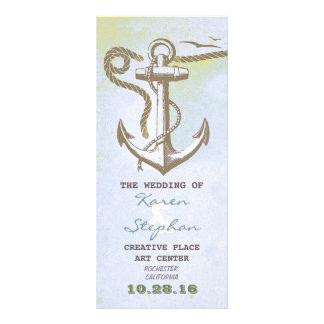 nautical beach wedding programs custom rack card