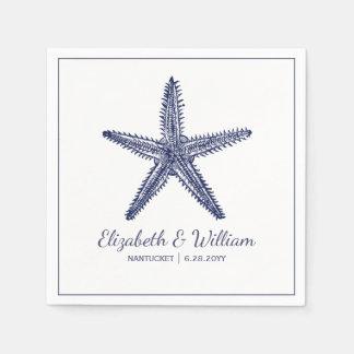 Nautical Beach Wedding Rustic Navy Blue Starfish Paper Serviettes