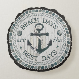 Nautical Best Day Burlap Beach Throw Pillow