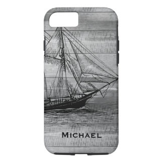 Nautical Black Ship Schooner & Gray Wood Planks iPhone 8/7 Case