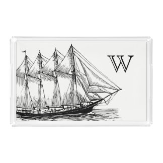 Nautical Black Vintage Schooner Ship Acrylic Tray