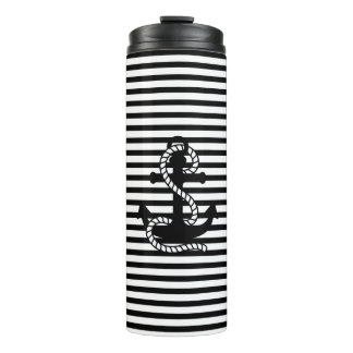 Nautical Black White Stripes and Black Anchor Thermal Tumbler