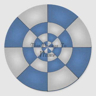 Nautical Blue Abstract Classic Round Sticker