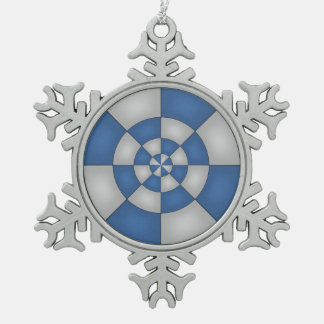 Nautical Blue Abstract Pewter Snowflake Decoration