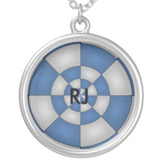 Nautical Blue Abstract Silver Plated Necklace