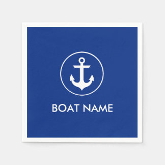 Nautical Blue Anchor Boat Name Cocktail Napkins Disposable Serviette