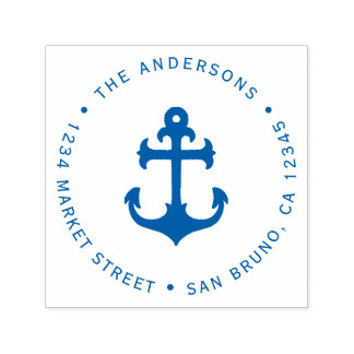 Nautical Blue Anchor | Family Name Return Address Self-inking Stamp