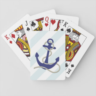 Nautical Blue Anchor on Wide Aqua Stripes Playing Cards