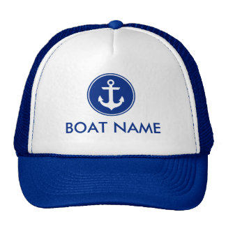 Nautical Blue Anchor Personalized Boat Hat Blue
