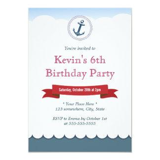Nautical Blue Anchor & Sea Birthday Invitations