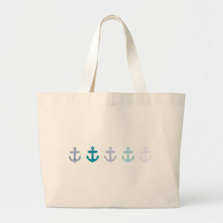 Nautical Blue Anchors Design Large Tote Bag