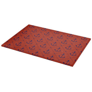 Nautical Blue Anchors on Red Cutting Boards