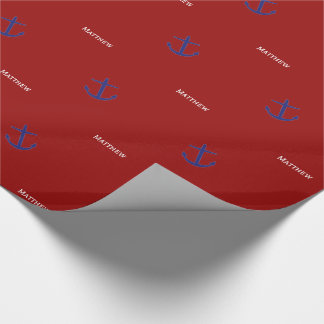 Nautical Blue Anchors on Red Personalized Wrapping Paper