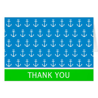 Nautical Blue and Green With White Anchors Card