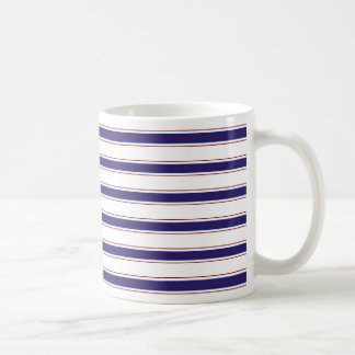 Nautical Blue and Red Stripes on White Coffee Mug
