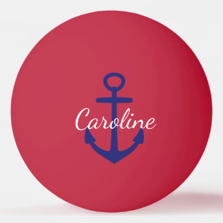 Nautical Blue and White Anchor Monogram on Red Ping Pong Ball