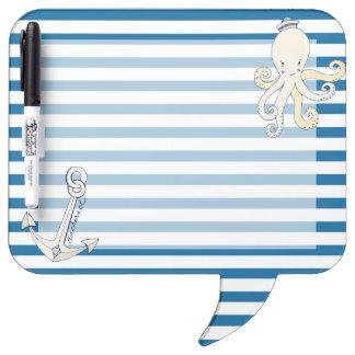 Nautical Blue and White Horizontal Stripe Dry Erase Board