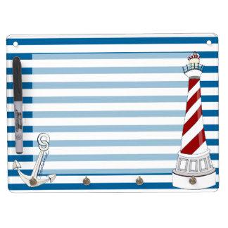 Nautical Blue and White Horizontal Stripe Dry Erase White Board