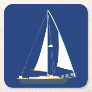 Nautical Blue And White Sailboat - Ocean Beach Square Paper Coaster