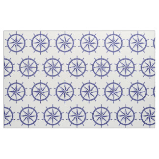 Nautical Blue and White Ship Wheel Fabric