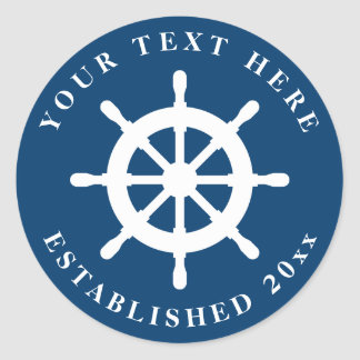 Nautical blue and white ship wheel wedding sticker
