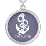 Nautical Blue And White Ships Anchor And Rope Necklace