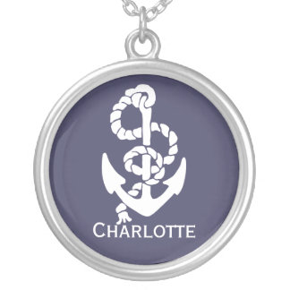 Nautical Blue And White Ships Anchor And Rope Silver Plated Necklace
