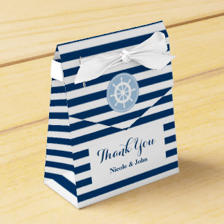 Nautical blue and white striped wedding favor box