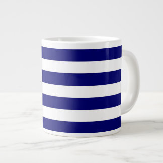 Nautical blue and white stripes large coffee mug
