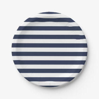 Nautical Blue And White Stripes Wedding / Party Paper Plate