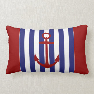 Nautical Blue and White Stripes with Red Anchor Lumbar Pillow