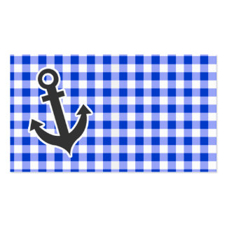 Nautical Blue Gingham Business Card Templates