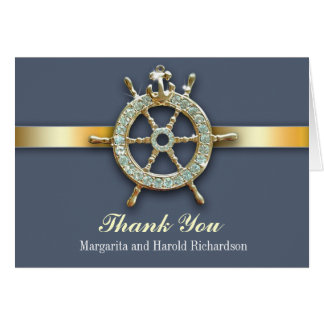 nautical blue golden wedding thank you cards