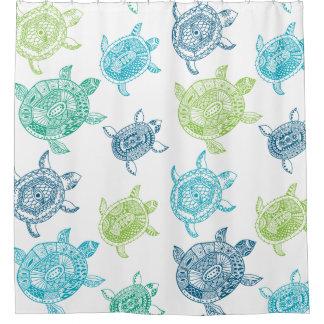 Nautical Blue & Green Sea Turtles Shower Curtain