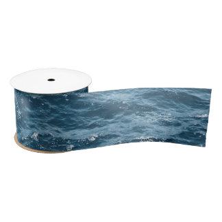 Nautical Blue Ocean Water Satin Ribbon