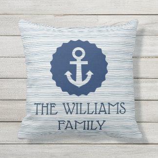 Nautical blue outdoor cushion