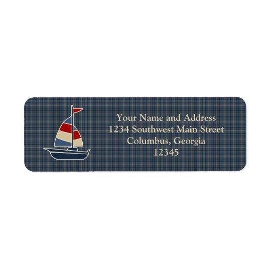 Nautical Blue, Red, Cream Sailboat Custom Return Address Label