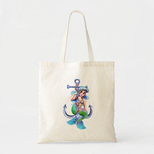 Nautical Blue Retro Mermaid Lady Canvas Bag