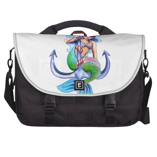 Nautical Blue Retro Mermaid Lady Laptop Commuter Bag