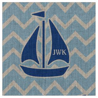 Nautical Blue Sailboat and Chevron Personalized Fabric