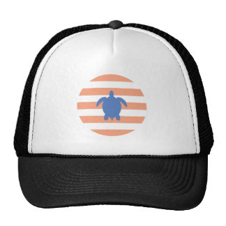 Nautical Blue Sea Turtle & Coral and White Stripes Trucker Hat