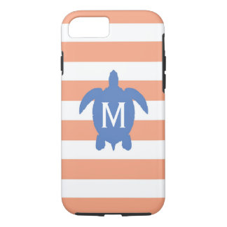 Nautical Blue Sea Turtle & Coral Stripes Monogram iPhone 8/7 Case