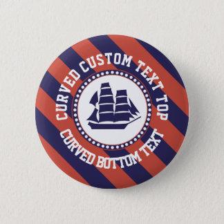 Nautical blue ship 6 cm round badge
