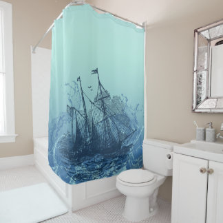 Nautical - Blue ship Shower Curtain