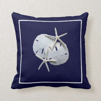 Nautical Blue Starfish Sand Dollar Throw Pillow