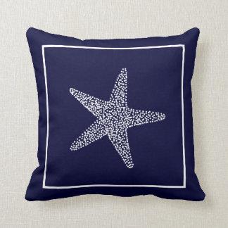 Nautical Blue Starfish Throw Pillow Throw Cushions
