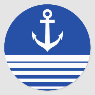 Nautical blue stickers with ship anchor