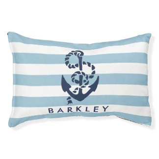 Nautical Blue Stripe Anchor Personalised Pet Bed