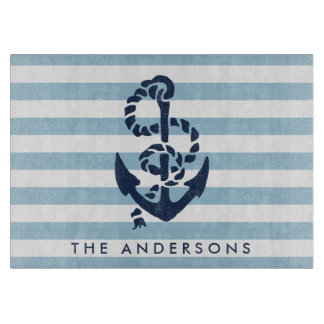 Nautical Blue Stripe & Navy Anchor Personalized Cutting Boards