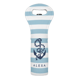 Nautical Blue Stripe & Navy Anchor Personalized Wine Bag